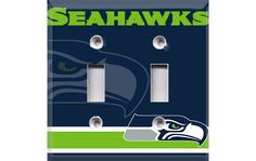 This is our Seattle Seahawks themed Double Light Switch Cover. This quality hand-made to order unbreakable cover will instantly give your room that
