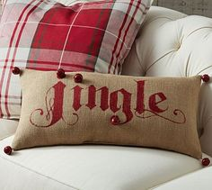Jingle Lumbar Pillow #potterybarn LOVE!