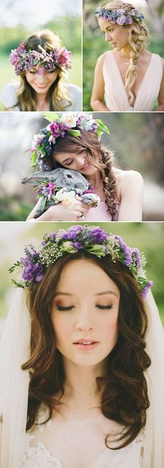 27 Down-to-earth Bridal Floral Crowns - Romantic Purple | Want more flower crowns? --> https://www.pinterest.com/thevioletvixen/flower-crowns/