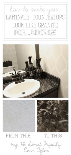 If you don't have the budget for new granite countertops, this is a clever alternative!   Via We Lived Happily Ever After Painting Countertops, Diy Countertops, Paint Laminate Countertops, Granite Counters, Faux Marble Countertop, Countertop Redo, Kitchen Counters, Painting Laminate, Quartz Counter