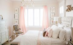 Pink and gold tween girl bedroom makeover