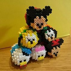 Tsum Tsum Mickey Mouse and friends perler beads by soyake. Perler Bead Designs, Pearler Bead Patterns, Perler Patterns, 3d Perler Bead, Diy Perler Beads, Bead Crafts, Diy And Crafts, 3d Pokemon, Perler Bead Disney