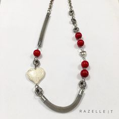 Long red and cream howlite neckpiece Beaded Necklace, Necklaces, Cream, Jewelry, Beaded Collar, Creme Caramel, Jewlery, Bijoux, Chain