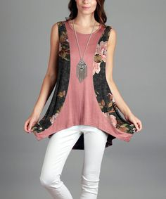 Another great find on #zulily! Gray & Mauve Floral Sidetail Tunic - Plus Too #zulilyfinds