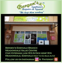 Looking for an appliance repair company in the Edenvale area? You'll find us at Meadowdale Value Centre next to Da Silva Auto.  #wekeepthemworking #bergensappliances #appliancerepair #dishwashers #stoves #washingmachines #tumbledriers #freezers #vacuumcleaner #wefixappliances #teamwork #southafrica #edenvale  Follow us on Instagram and Pinterest Contact:  079 884 0543 Email:  edenvale@bergens.co.za