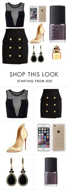 """Sans titre #3699"" by merveille67120 ❤ liked on Polyvore featuring Varley, Balmain, Christian Louboutin, Speck, Givenchy, NARS Cosmetics and Marc Jacobs"