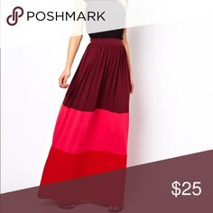 Color Block Maxi Skirt In great condition. Has built in thin breathable lining. Sits higher on the waist. Perfect for heels and sandals. More pics to come. ASOS Skirts Maxi