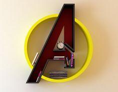 Avengers, logo, shelf, interrior, library, bookshelf