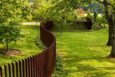 Cor-Ten Cattails Sculptural Fence - industrial - landscape - philadelphia - by Archer & Buchanan Architecture, Ltd.