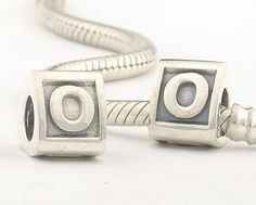 CLLE02-O 925 Sterling Silver Triangle Alphabet letter O Pandora Charms beads Pandora Letters