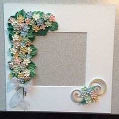 Quilled pastel colors in white shadow box frame by Quillingbyginny White Shadow Box, Shadow Box Frames, Quilling Patterns, Quilling Designs, Quilling Flowers, Paper Quilling, Quilling Photo Frames, Flower Picture Frames, Paper Art