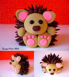 Sweet little hedgehog, clay or fondant - Hobbies paining body for kids and adult Polymer Clay Kunst, Polymer Clay Figures, Cute Polymer Clay, Polymer Clay Animals, Cute Clay, Fimo Clay, Polymer Clay Projects, Polymer Clay Creations, Fondant Figures