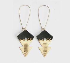 brass+re-purposed leather Arrow Earrings.