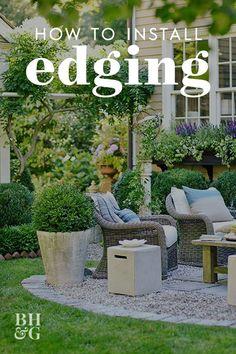 We show you tips on how to install any types of edging in your yard. #gardening #gardenideas #gardentips #landscaping #gardenedging #bhg Outdoor Ponds, Outdoor Landscaping, Landscaping Ideas, Outdoor Spaces, Outdoor Gardens, Outdoor Living, Outdoor Decor, Lawn Edging, Garden Edging
