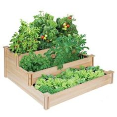 Greenes Fence 4 ft. x 4 ft. x 21 in. 3-Tiered Cedar Raised Garden Bed-RC4T3 at The Home Depot