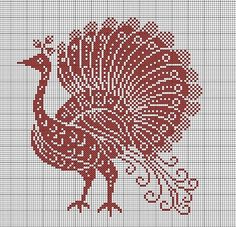 Redwork Peacock - chart would also work for filet crochet