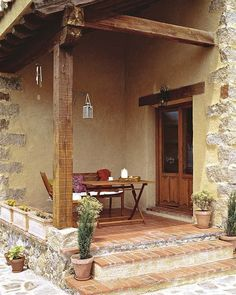 Rustic style, country spirit - Who does not want at some point the tranquility of life in the country? The absence of haste, the a - Spanish House, Spanish Style, Patio Design, House Design, Rustic Patio, Hacienda Style, Rustic Style, My Dream Home, Villa