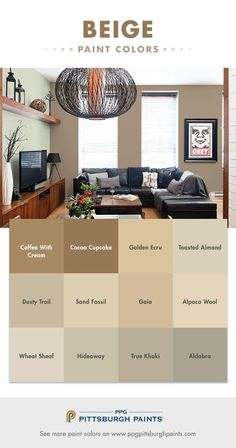 One of the most commonly used paint colors, beige can be a neutral territory throughout your home's spaces. Newer tones of beige are different, incorporating a lot more gray for a very modern, cool, sleeker look – not as warm and yellow. Beige colors with Beige Paint Colors, Interior Paint Colors, Interior Design, Beige Color, Neutral Paint, Interior Painting, Interior Ideas, Paint Colors For Living Room, Paint Colors For Home
