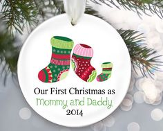 New Parents Ornament Our first Christmas Mommy as Daddy by LilStinkerDesign