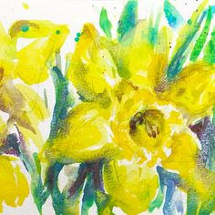 All it takes is 30 minutes to paint a lovely daffodils sketch to enjoy spring! YouTube painting tutorial and step by step instructions.