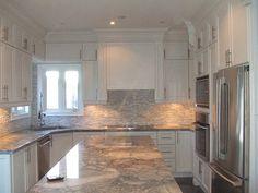 cc-40 Contemporary Kitchen Cabinets with Super White Granite