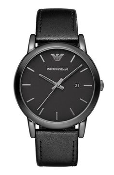 Emporio Armani Leather Strap Watch, 41mm   Nordstrom