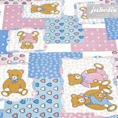 jubelis® Unterlage aus Wachstuch Teddybären hellblau und rosa