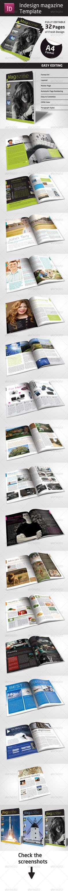 This Indesign fresh, nice looking magazine template contains fully editable 32 pages in A4 format, which can fit any needs. (compa