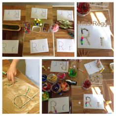 Provocations (Reggio) The Letter R,r Each child can make their own letter for their name and we could display it above their pictures and names.
