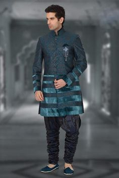 Turquoise Brocade Readymade Indo Western Suit @ $277.38   Shop Now @ http://www.utsavfashion.com/store/item.aspx?icode=mdh25
