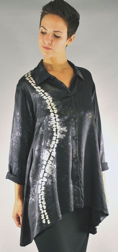Ori Nui Shibori Charmeuse Orchid Blouse by Michael Kane: Silk Blouse available at www.artfulhome.com