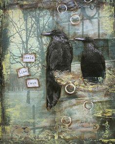 FEELS LIKE RAIN Mixed Media Art Print by StrangeFarmGirl on Etsy