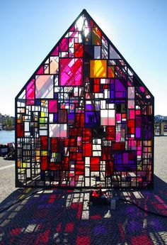 Tom Fruin  - I'm pinning this for my husband, who loves stained glass and has always wanted a green house in our backyard.