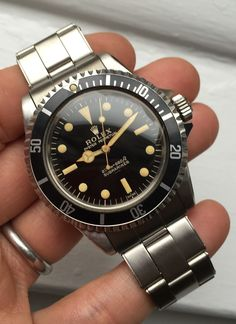 Bring a Loupe: Five Great Post-Christmas Watches Including Potentially The Nicest Gilt Submariner We've Ever Seen (Ever) Men's Watches, Fossil Watches, Sport Watches, Cool Watches, Wrist Watches, Fashion Watches, Rolex 5513, Rolex Submariner 5513, Rolex 116234