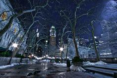 dark cityscape art | Bryant Park, New York by WilsonAxpe / Scott Wilson - Desktop Wallpaper