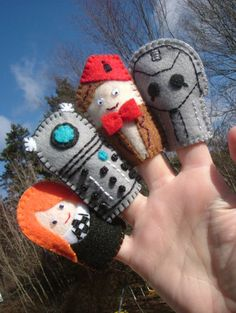 Dear kids, These little finger puppets are the perfect way for your Mommy and me to introduce you to the Doctor. Dontcha think? Love, Aunt Abby