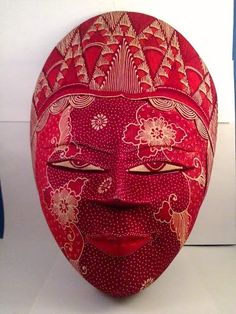 Wooden Batik Mask Red with Flowers Wall Decor. Starting at $18 on Tophatter.com!