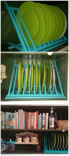 DIY plate rack tutorial Diy Plate Rack, Plate Holder, Walmart Sales, Dumpster Diving, Galley Kitchens, Diy Kitchen, Kitchen Ideas, Plates On Wall, Plate Wall