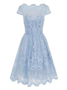 Baroque Style Tea Dress - light blue, knee length