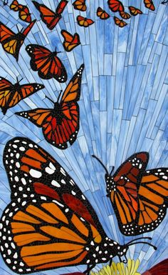 Art is Everywhere - Mosaic Butterflies Mosaic Tile Art, Mosaic Crafts, Mosaic Projects, Stained Glass Projects, Stained Glass Patterns, Mosaic Patterns, Stained Glass Art, Mosaic Glass, Mosaics