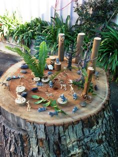 Small world play on a tree log - Elder Street Early Childhood Centre ≈≈ For more inspiring pins: http://www.pinterest.com/kinderooacademy/preschool-outdoor-play-environments/