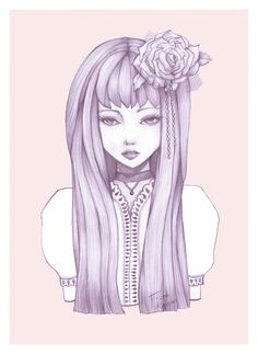 Flower Doll - by Fizah Rahim. A personal illustration piece. Prints available on Society6.
