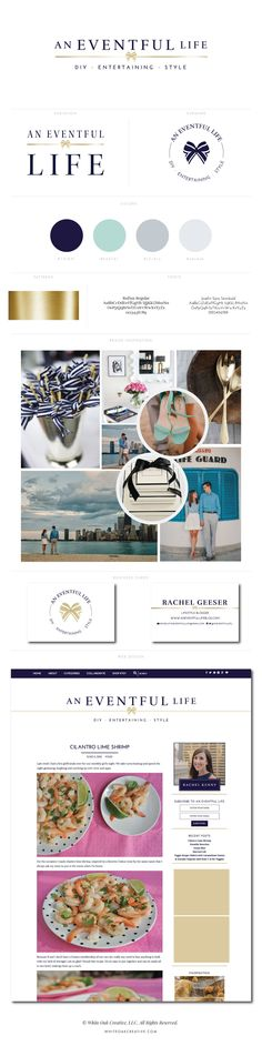 An Eventful Life Blog Design by White Oak Creative - logo design, wordpress theme, mood board inspiration, blog design idea, graphic design, branding