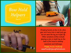Make learning to play the violin FUN! Learn 9 easy and economical tricks for perfecting your bow hold + download free music and so much more at the Music for Young Violinists project. Happy music making!!!