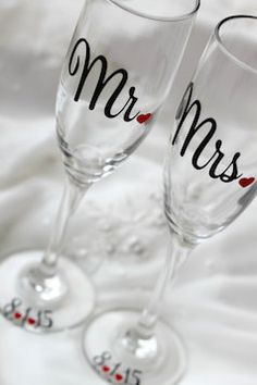 Mr. and Mrs Champagne flutes