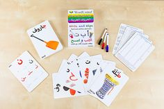 Learn to read and write the Arabic alphabet with these 30 large double-sided colourful and engaging wipe-clean flash cards.   Bilingual cards include transliterations of all words and letters for learners of Arabic as a foreign language whether adults or children. With online supported learning to listen to the sounds and pronunciations of the letters and watch videos on how to write them.