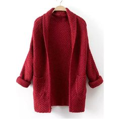 Red Long Sleeve Pockets Knit Cardigan ($20) ❤ liked on Polyvore featuring tops, cardigans, red, red top, loose knit cardigan, red knit cardigan, loose tops and cocoon cardigan