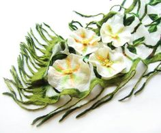 Nuno felted scarf - White flowers green