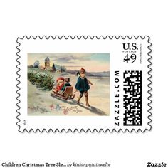 Children Christmas Tree Sled Sleigh Stamps