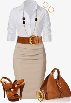 Work Outfits | Classic Look  STEFFEN SCHRAUT Blouse, DONNA KARAN Skirt, Rachel Zoe Sandals, Gucci Bag, Alexander McQueen Bracelet  by johnna-cameron
